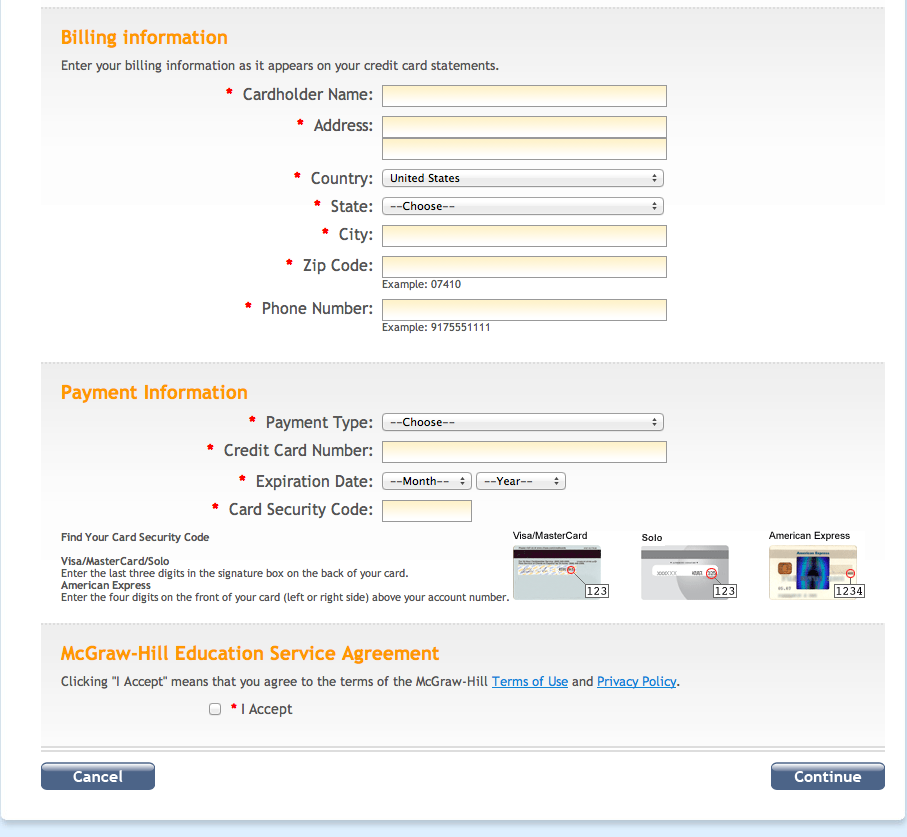 billing and payment information form