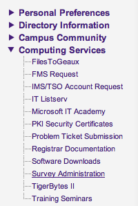 Screen shot of myLSU survey administration under the computing services drop down menu