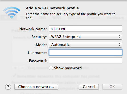 network profile page.