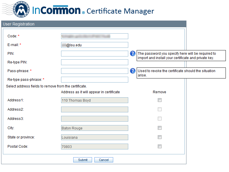 InCommon Certificate Manager