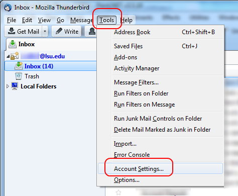 Tools menu with Account Settings option highlighted at the top of the screen in Thunderbird