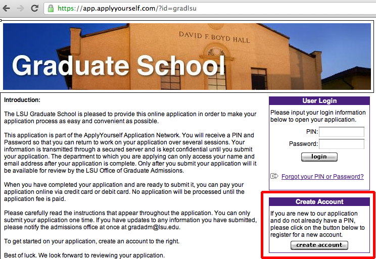 This shows the Graduate School Application Page.