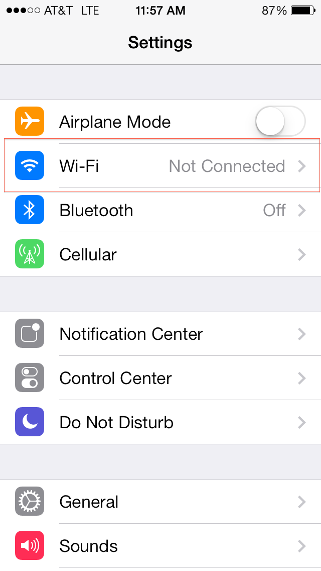 Wi-fi settings option