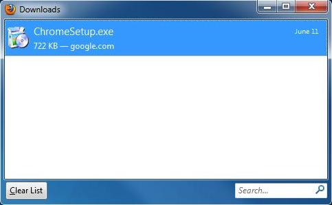 Screenshot of download manager screen.