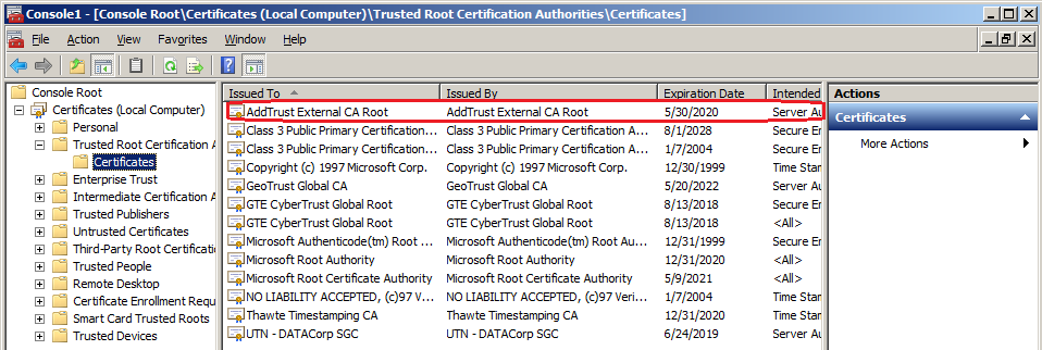 AddTrust External CA Root highlighted at the top