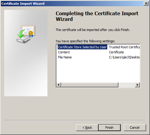 Certificate Store Selected by User