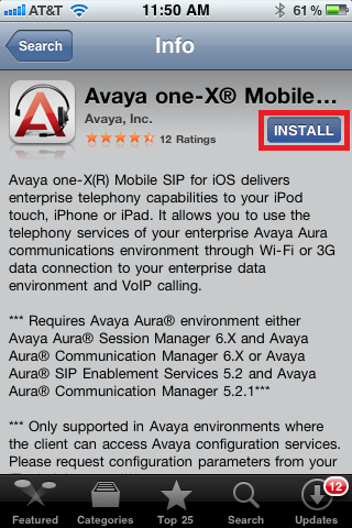 Avaya one-X screen, select install