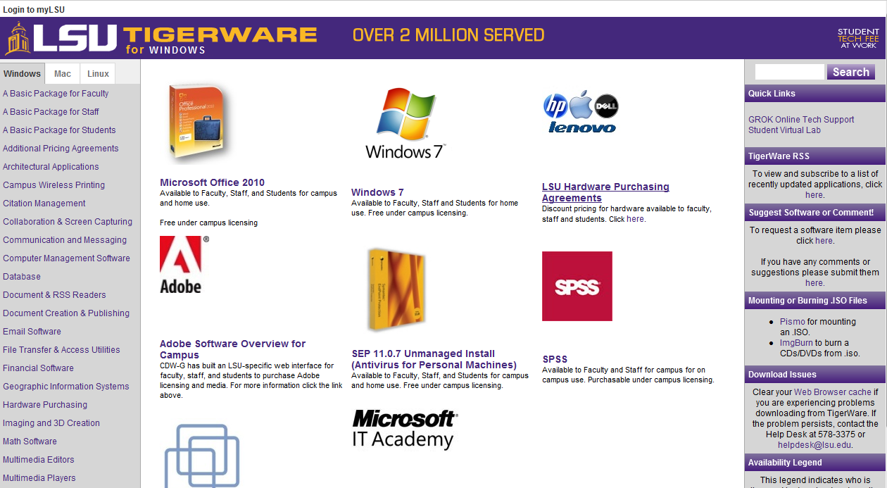 Tigerware homepage.