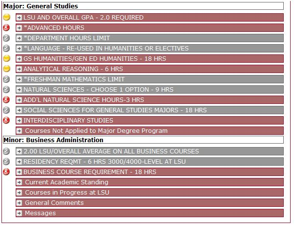 screenshot of the general studies degree audit.