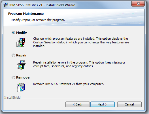 screenshot of InstallShield Wizard with modify selected