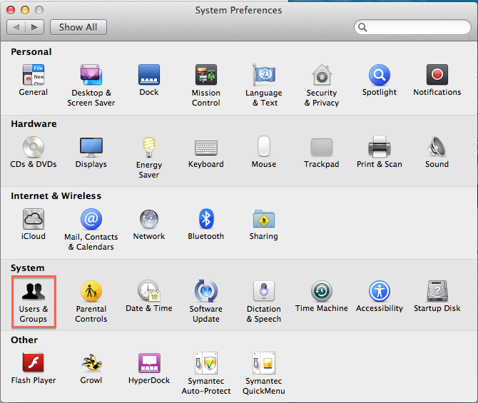 Users And Groups In The Preferences Dialog Box