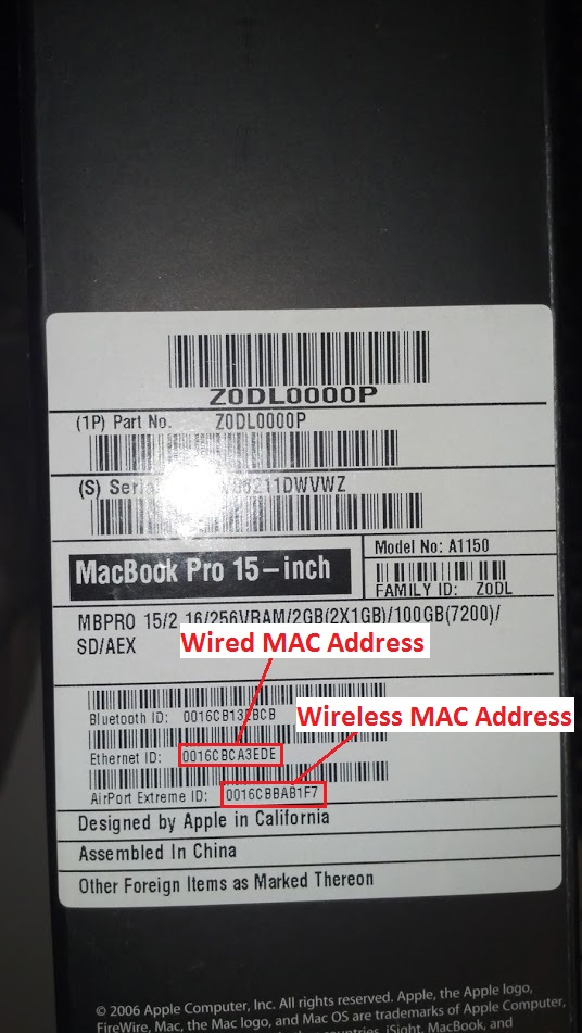 a third example of a laptop with Wireless MAC Address and Wired MAC Address pointed out.