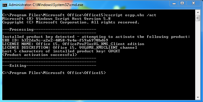 office activation kms command line