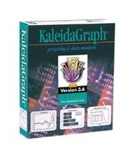 Kaleidagraph logo. It is a green box with the word kaleidagraph at the top.