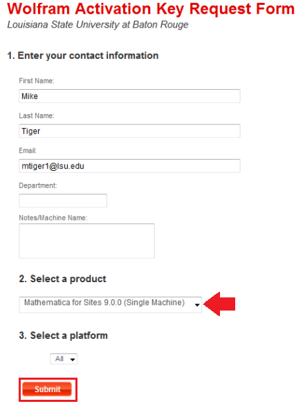 "Key request contact information page with ""submit"" highlighted."