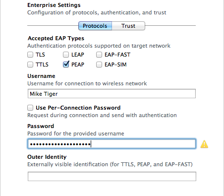 Apple Configurator prompting the user to enter their username and password
