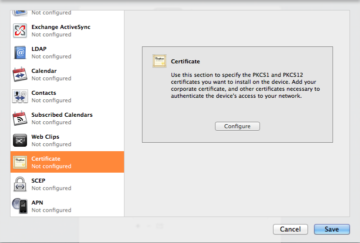 Apple Configurator showing the Certificate tab