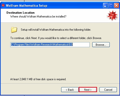 screenshot of mathematica 8 install with next highlighted