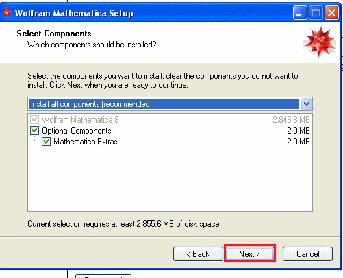 screenshot of mathematica 8 components setup with next highlighted