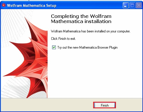 screenshot of mathematica 8 installation complete with finish highlighted