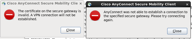Cisco Error messages indicating an invalid certificate or an inability to connect