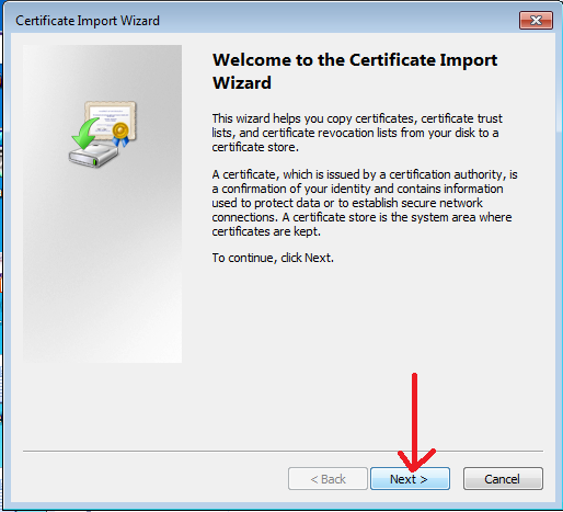 Certificate Import Wizard window