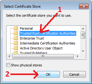 Trusted Root Certification Authorities option and OK button.