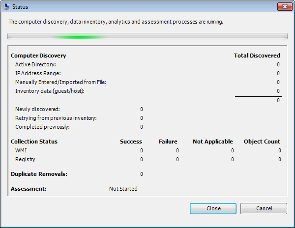 Status Window. Discovery, Collection Status, Duplicate Removals and Assessment.
