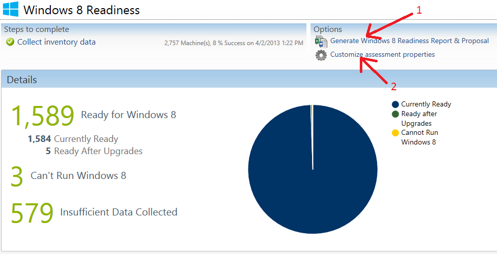 Windows 8 Readiness: Readiness Report & Customize Assessment Properties