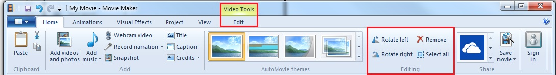screenshot of movie maker toolbar with edit tab and editing/ rotating section highlighted