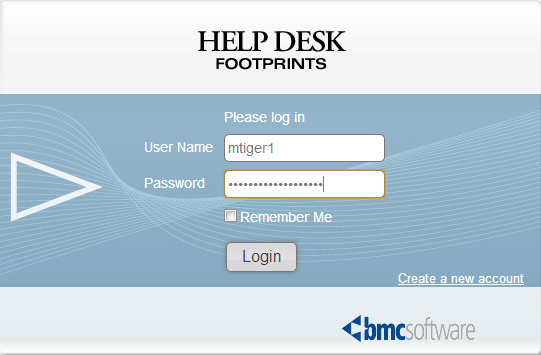 Footprints login information screen menu.