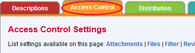 Access Control Settings under the Access Control tab.