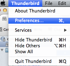 Thunderbird Preferences option