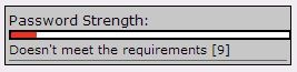 the Option Red for Password Strength.