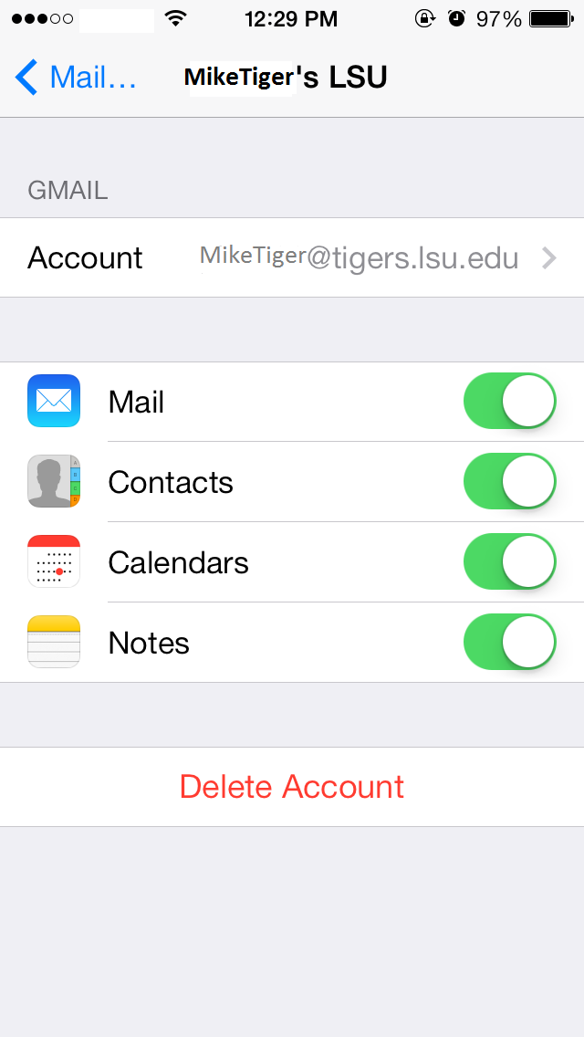 The IOS7 Mail Account Selection Menu