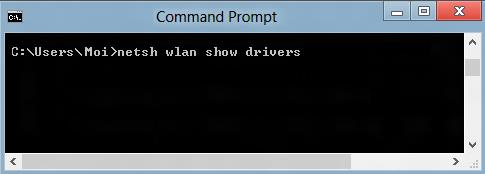 """netsh wlan show drivers"" typed into the Command Prompt window"
