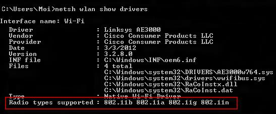 screenshot of the Radio types supported on Windows
