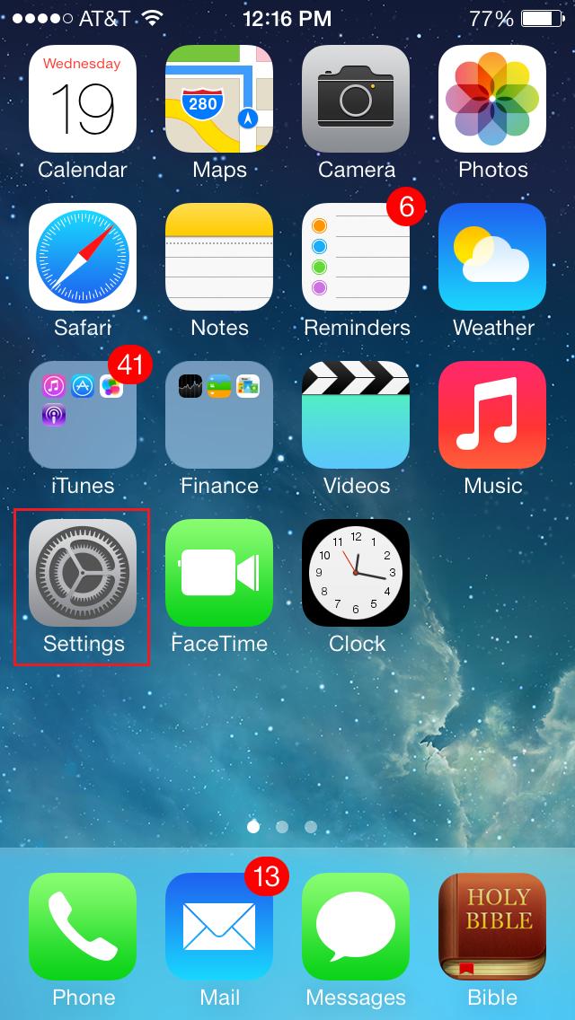 iPhone with Settings icon selected at the middle left of the screen