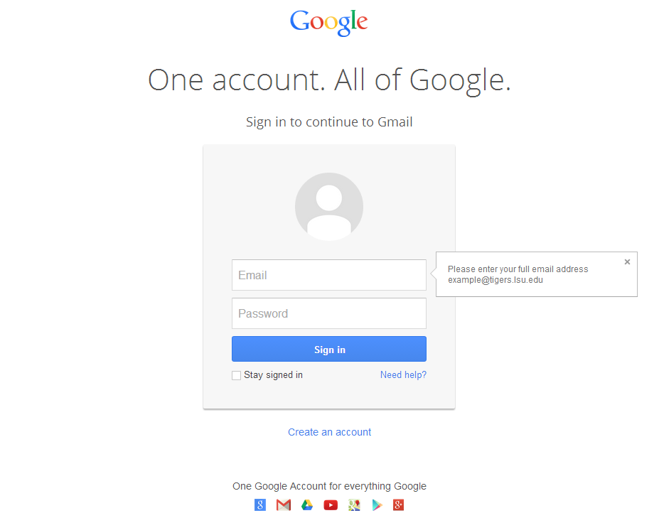 Screenshot of Google Login Screen