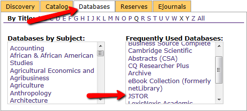 Databases tab in JSTOR