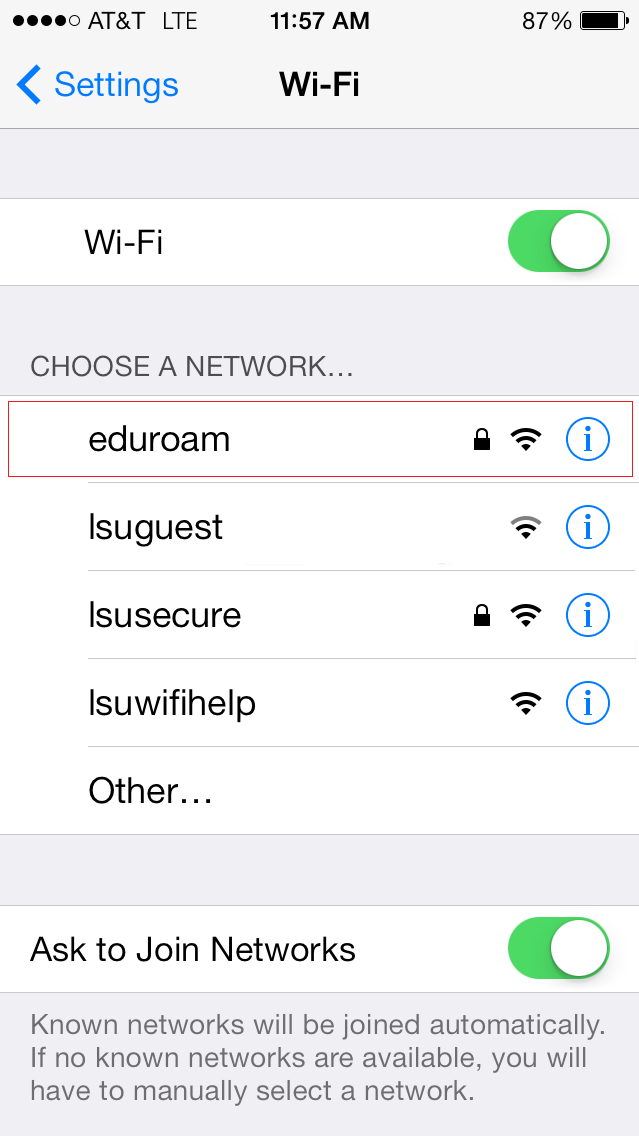 Option to connect to eduroam under the list of available networks