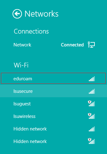 Eduroam connection on the list of available connection options.
