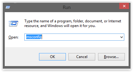 mscongif on the run dialog box
