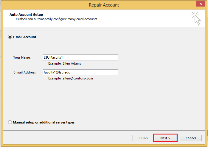 how to change name on outlook account right hand corner