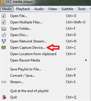 screenshot of Open capture device tab