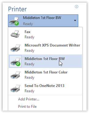 Printer options window