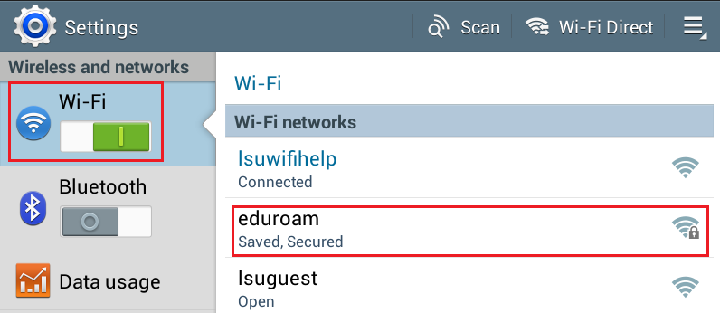 Andriod Wi-Fi settings with the network highlighted