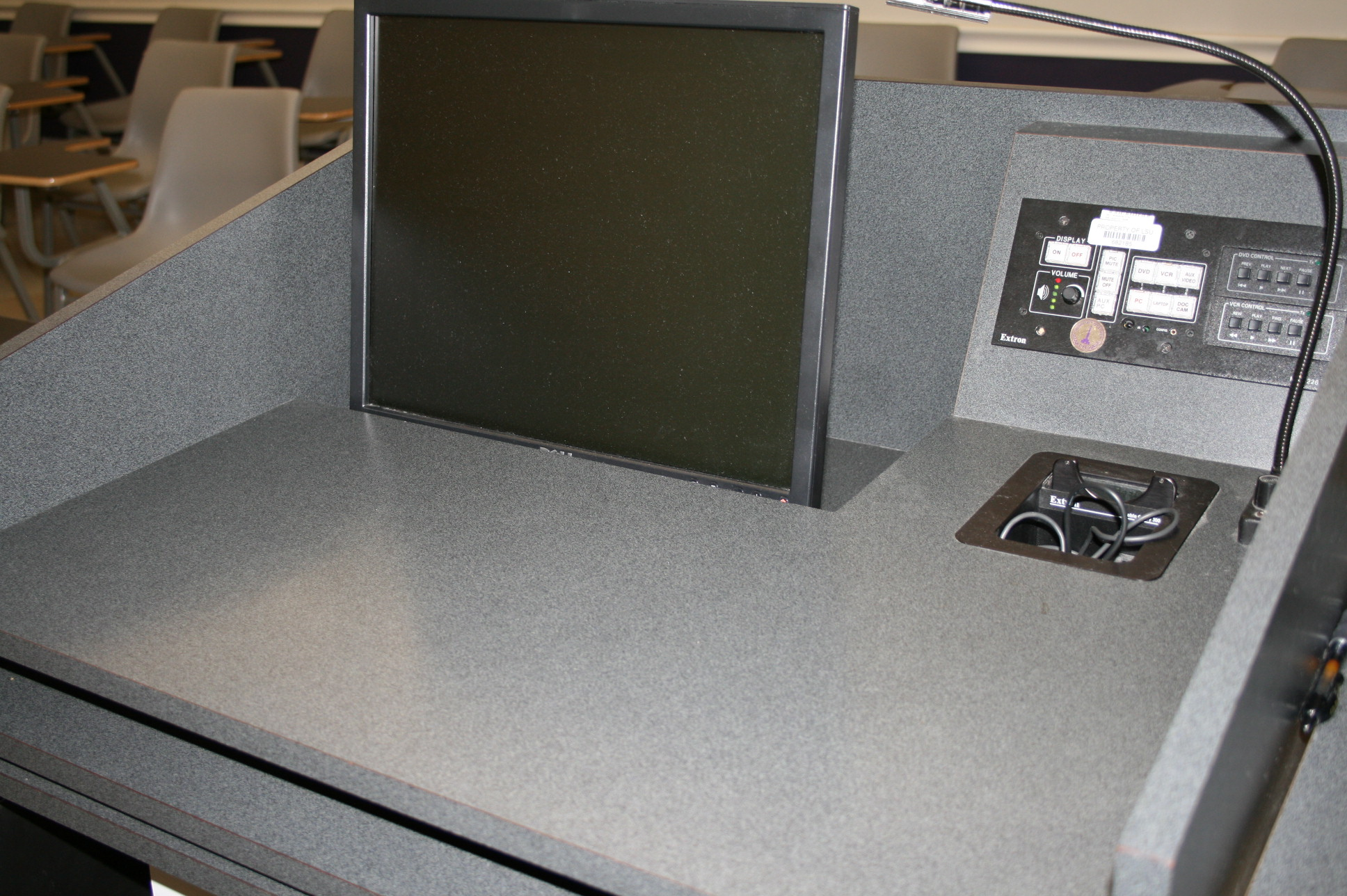 Multimedia desk available in Prescott 118 at the front