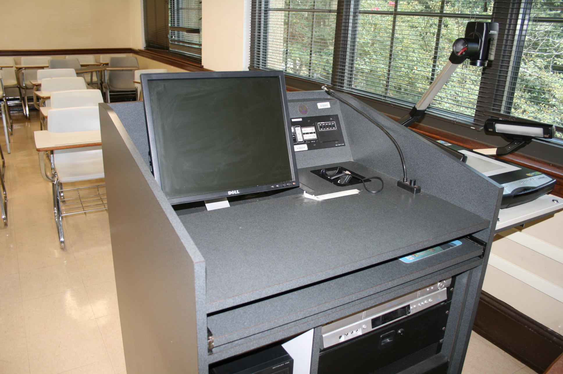 Stubbs 220 from front of classroom with Multimedia available