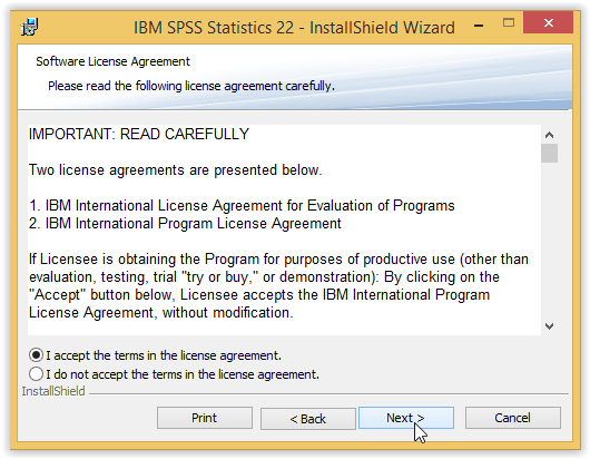 Spss 22 installation instructions windows grok knowledge base spss 22 license agreement window with i accept the terms selected platinumwayz